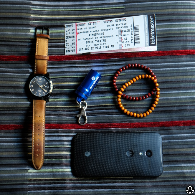 The pocket essentials! We eventually went back 'cause it was show time.